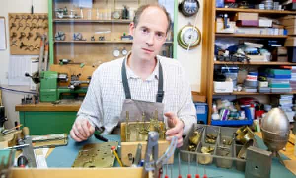 Julius Schoonhoven, an antique clock fixer, in The Old Gas Works.