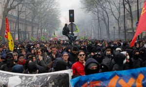 Protesters in Paris march in support of the rail strike on 3 April.