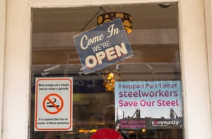 A cafe window in Port Talbot.