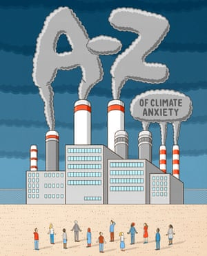 Illustration of people standing in front of a huge industrial  building billowing out smoke