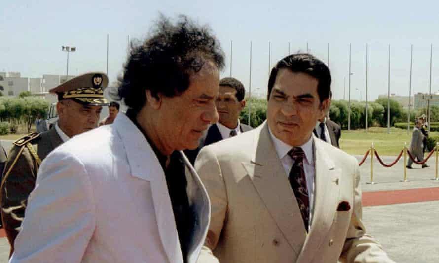 Ben Ali with the Libyan leader Muammar Gaddafi in 1999.