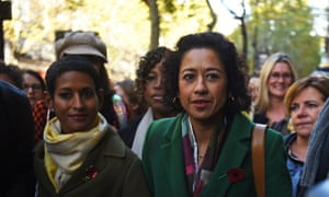 Samira Ahmed (right) and Naga Munchetty (left) arrive at the employment tribunal, challenging the BBC over an unequal pay claim.
