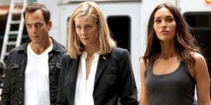 Laura Linney with Will Arnett and Megan Fox in Teenage Mutant Ninja Turtles 2.