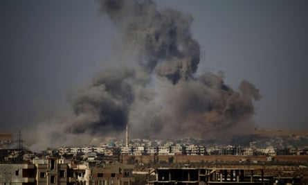 A rebel-held town east of the city of Daraa during airstrikes on Saturday