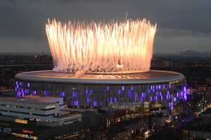 London, EnglandFireworks explode above the new Tottenham Hotspur Stadium in the north of the capital before the Premier League match between Spurs and Crystal Palace.