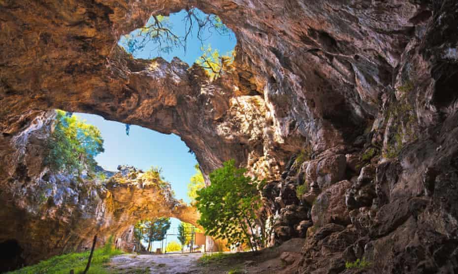 ela spilja cave in Vela Luka on Korcula island view. Amazing landscape of Dalmatia region of Croatia.