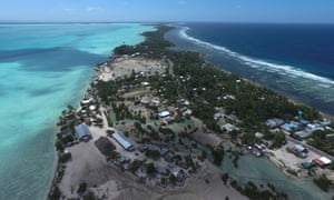 The village of Eita on South Tarawa Kiribati. There is little food grown on Kiribati's islands.