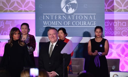 Melania Trump and Mike Pompeo, secretary of defense, attend the International Women of Courage awards ceremony.