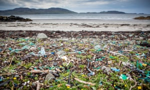 Dirty business: a beach strewn with plastics on the Isle Of Mull.