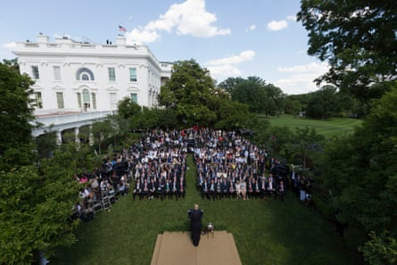 Donald Trump and EPA Administrator Scott Pruitt make US Paris climate agreement statement in the Rose Garden of the White House.