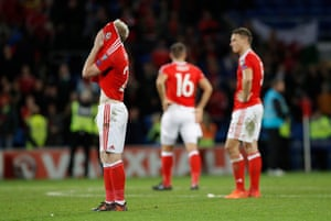 Wales players react at the final whistle against Republic of Ireland.