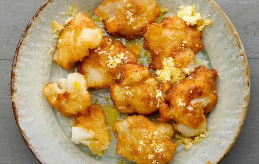 Dan Lepard's pear and rice fritters with orange sugar.