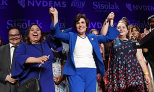 The Democrat Jacky Rosen celebrates after winning her Senate race against the Republican Dean Heller on 7 November.