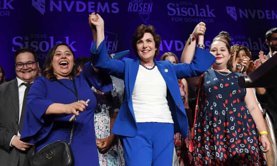 The Democrat Jacky Rosen celebrates after winning her Senate race against the Republican Dean Heller on 7 November.