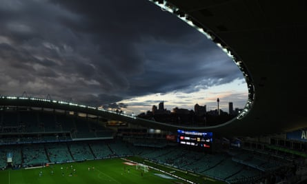 A storm over Sydney's Allianz Stadium. 'The upper house is in dispute with the executive because the government has refused to produce three crucial documents in answer to three separate calls for papers.'