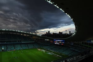 Another view of the storm from inside the Allianz Stadium