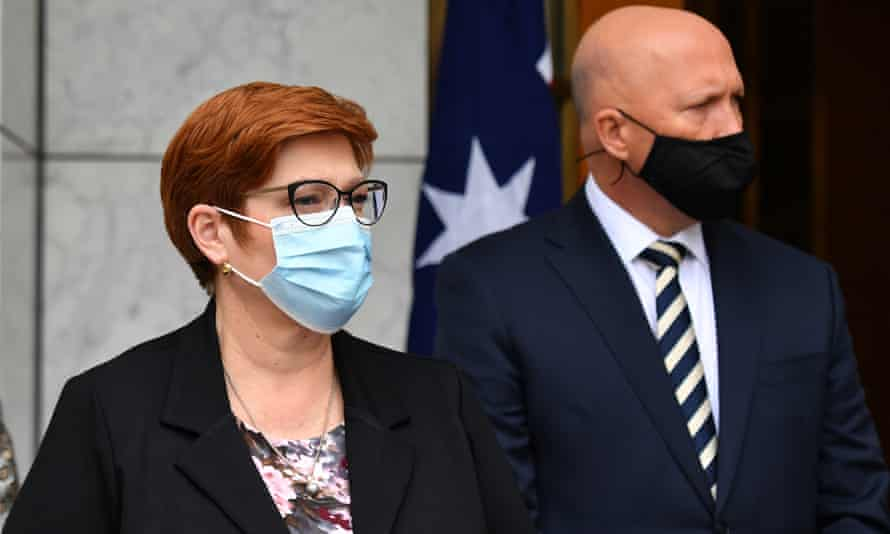 Foreign minister Marise Payne and defence minister Peter Dutton
