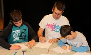 3D drawing with Michael Challenger at the Guardian cartoon and art family day.