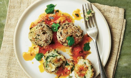 Yotam Ottolenghi's polenta-crusted fishcakes with spicy tomato and tarragon sauce.