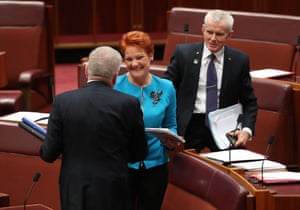 Mitch Fifield, Pauline Hanson and Malcolm Roberts
