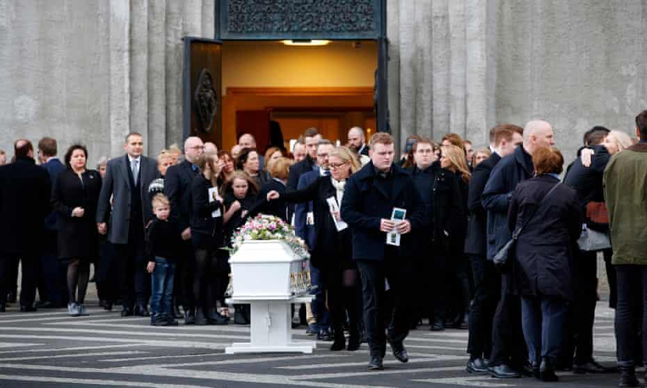 Birnu Brjánsdóttur's funeral at the Hallgrímskirkja church in Reykjavik.