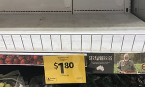 Empty shelves, normally stocked with strawberry punnets, are seen at a Coles in Brisbane on Friday.