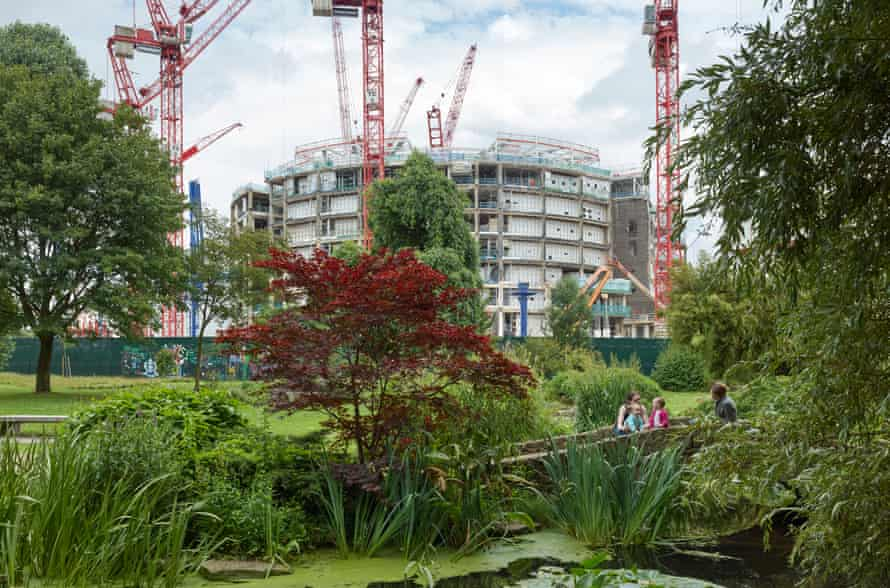 The Japanese garden in Hammersmith Park, London. In the background, redevelopment continues at the former BBC Television Centre