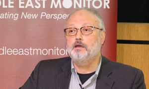 Jamal Khashoggi speaking at an event hosted by Middle East Monitor in London, September 2018.