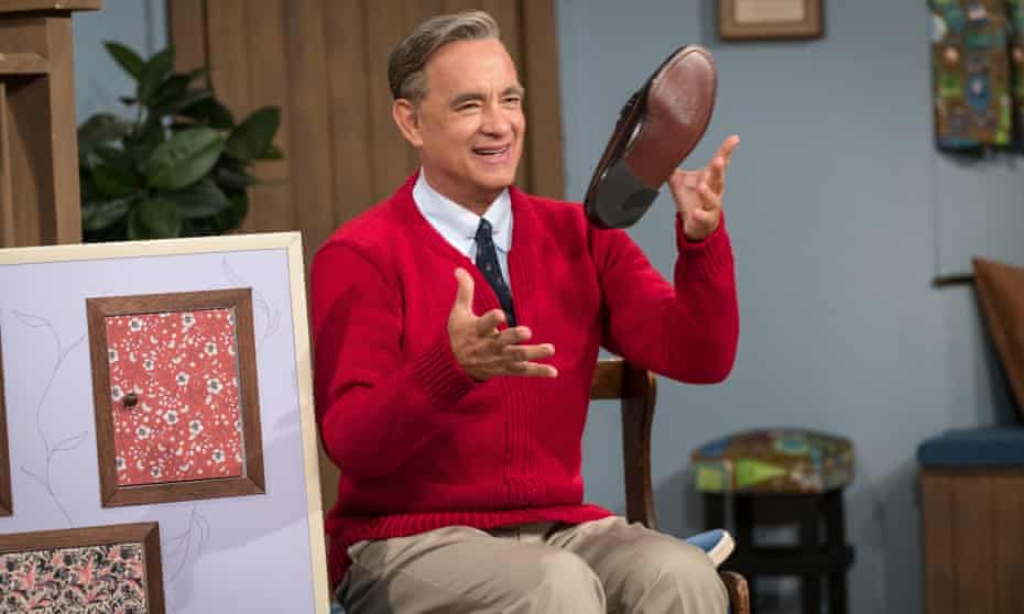 Tom Hanks stars as Mister Rogers in the opening sequence of A Beautiful Day in the Neighborhood.