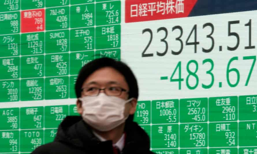 Man wearing a mask in front of share price index