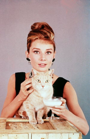 Audrey Hepburn with 'Cat' in Breakfast At Tiffany's.