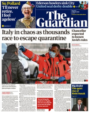 Guardian front page, Monday 9 March 2020