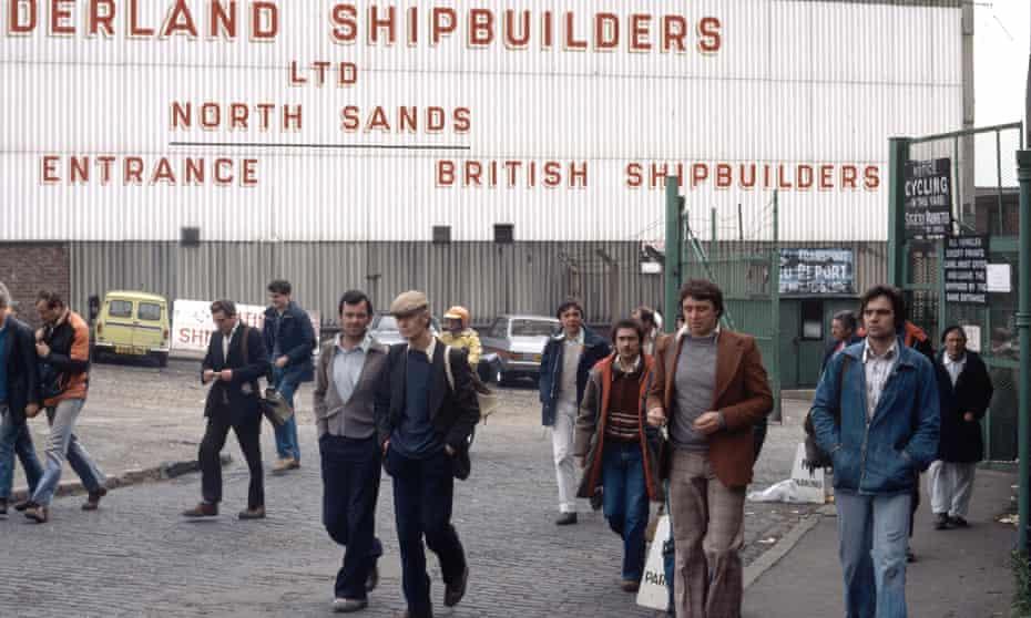 Shipbuilders in Sunderland in the 1980s.