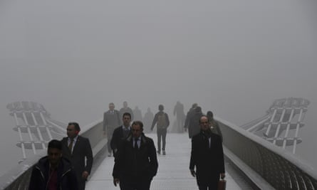 Murky day on London's Millennium footbridge ... the winter sun in the UK isn't strong enough to ensure adequate vitamin D levels.