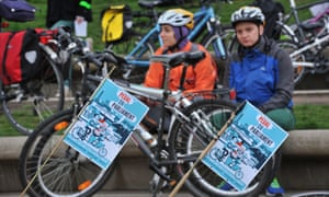 A Pedal On Parliament event calling on the government to invest in road infrastructure that will make cycling safe for everyone.