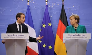 President of France Emmanuel Macron, and Chancellor of Germany Angela Merkel hold a joint press conference at the end of the European Union leaders summit in Brussels