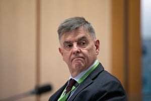 The secretary of the department of health Dr Brendan Murphy appears before the Senate select committee on Covid-19 at Parliament House, Canberra this afternoon.
