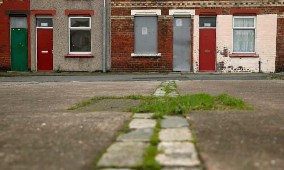 Houses in the Gresham area of Middlesbrough. Asylum seekers in the town have suffered abuse because they have been housed in properties that almost all have red front doors.