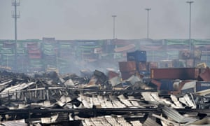 The warehouse explosion site in Tianjin .