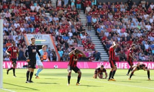 The Bournemouth players react after Raheem Sterling's 97th-minute winner in August.