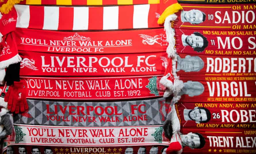 Scarves for sale outside Anfield before the game versus West Ham United.