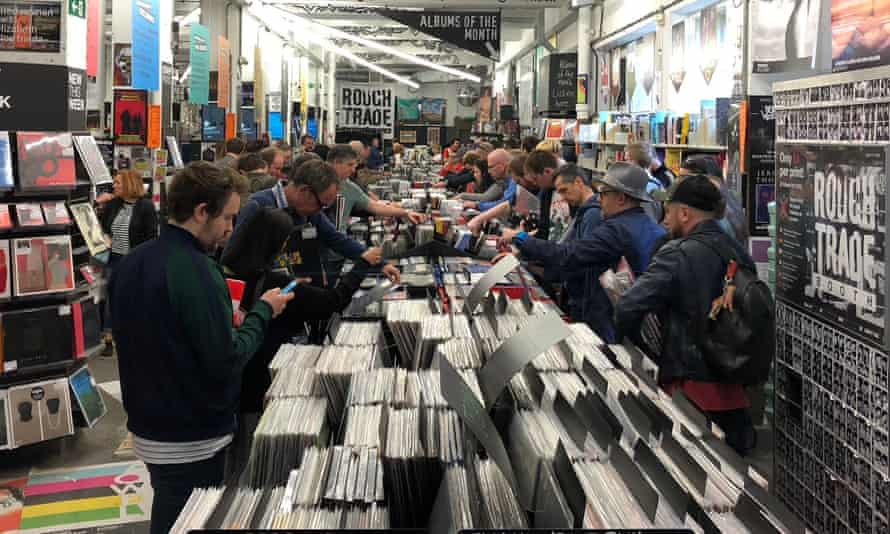 Browsers in Rough Trade East, Brick Lane, London on Record Store Day 2018.
