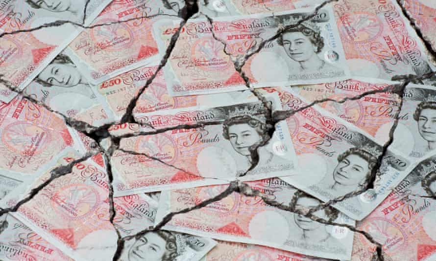 Cracked fifty pound notes