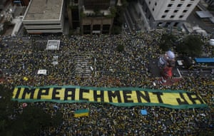 Demonstrators in São Paulo demand the impeachment of Dilma Rousseff in March 2016.