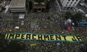 Demonstrators take part in a protest to demand the resignation of Brazilian President Dilma Rousseff, on March 13, 2016 in Paulista Avenue in Sao Paulo. Authorities in Sao Paulo, Brazil's biggest city and an opposition stronghold, said they were bracing for a million protesters. AFP PHOTO / MIGUEL SCHINCARIOLMiguel Schincariol/AFP/Getty Images