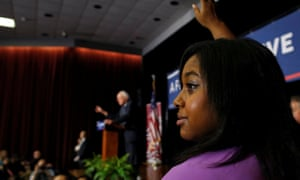 Erica Garner at a Bernie Sanders campaign event in 2016. After her death, Sanders called Garner 'a fighter for justice'