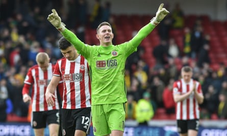 Dean Henderson celebrates Sheffield United's win over Norwich in their most recent Premier League match.