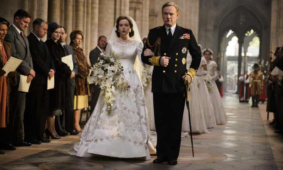 Harris as George VI with Claire Foy as Elizabeth in The Crown.
