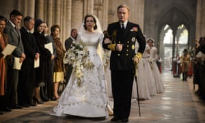 The Queen's wedding dress in The Crown is an unflattering shape, reflecting the lack of self-regard in her wardrobe.