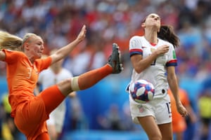 Alex Morgan of the USA is fouled by Stefanie Van der Gragt of the Netherlands leading to a penalty after the VAR review.
